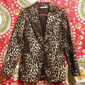 "ALICE + OLIVIA ""TOBY"" FITTED LEOPARD PRINT BLAZER"